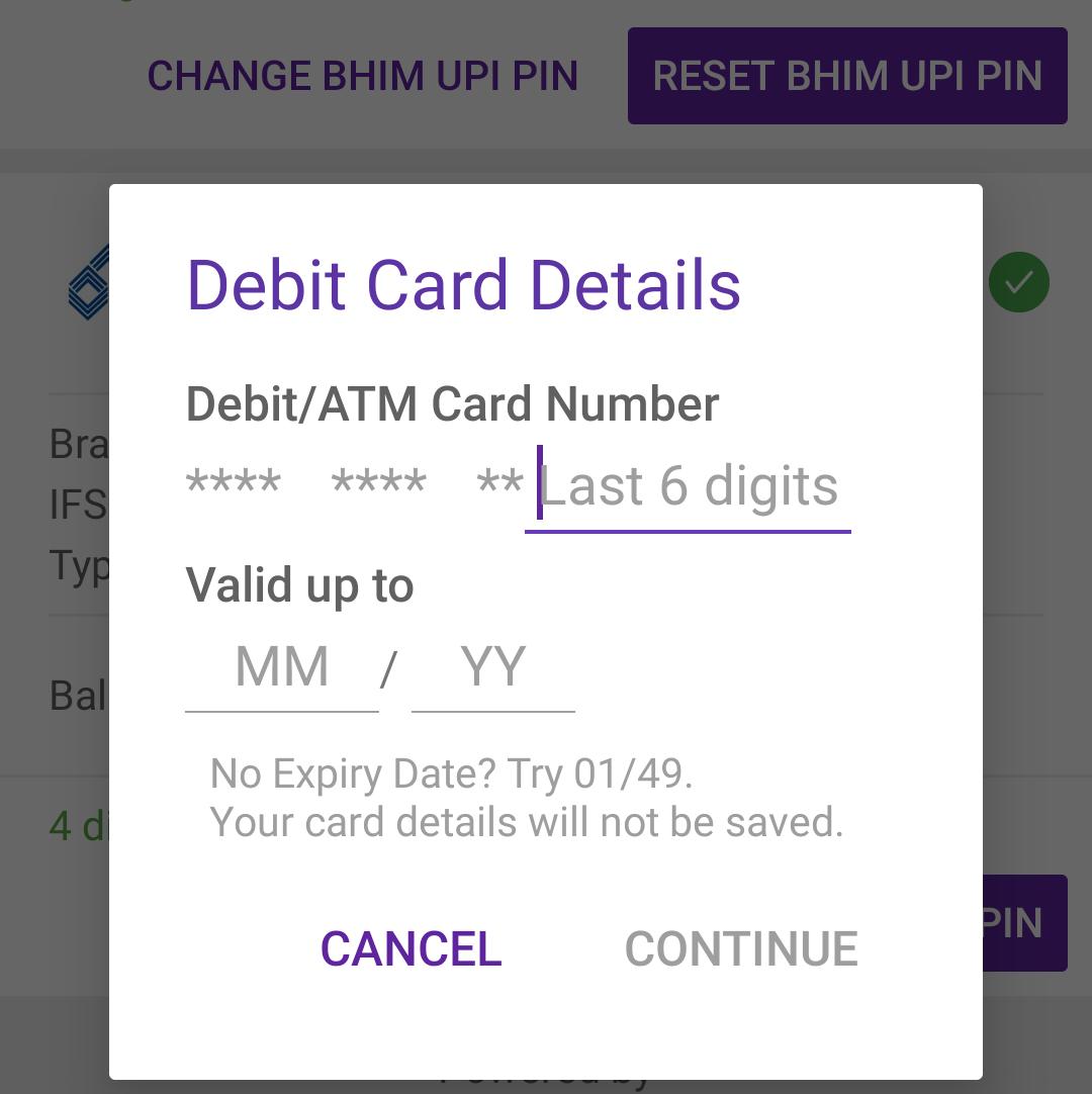 how to change upi pin